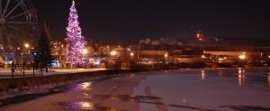 """Der """"Lac des Nations"""" mit kleinem Weihnachtsmarkt"""