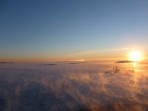 Gefrohrene Ostsee bei der Überfahrt nach Tallinn