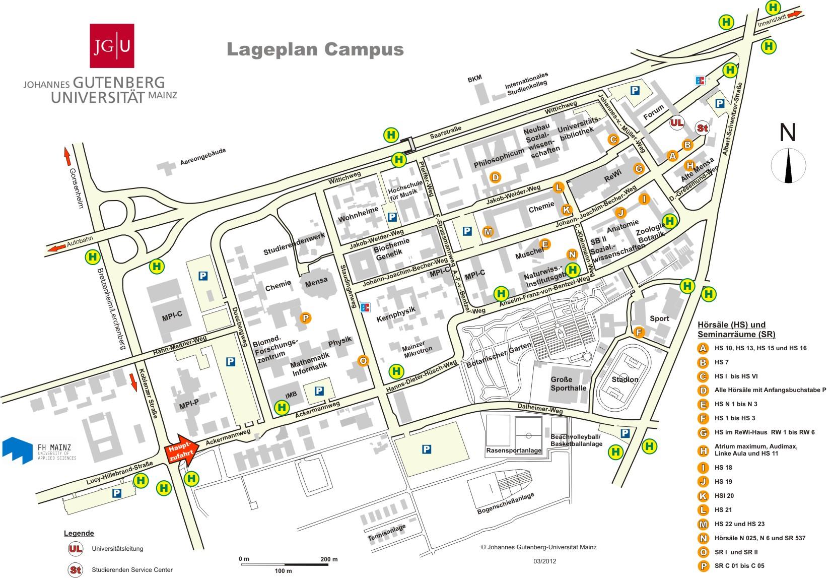 map of the JGU-campus
