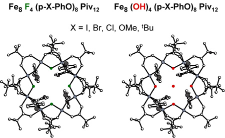 Structures of [Fe8F4(I-PhO)4(piv)12] and [Fe8(OH)4(I-PhO)4(piv)12].