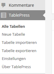 TablePress im Dashboard